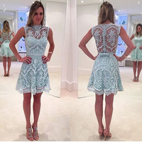 Homecoming Dresses, A-line Lace Mini High-Neck Homecoming Dress