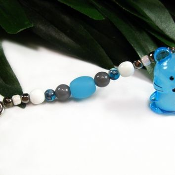 Blue, White and Gray Beaded Key Ring with Hand Blown Blue Glass Mouse Charm