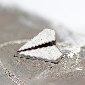 Paper Airplane Pendant / Necklace - Stainless Steel with Titanium White Tinted Concrete & Clear Crushed Glass