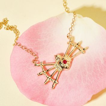 Free People 14K Sacred Heart + 7 Swords Necklace