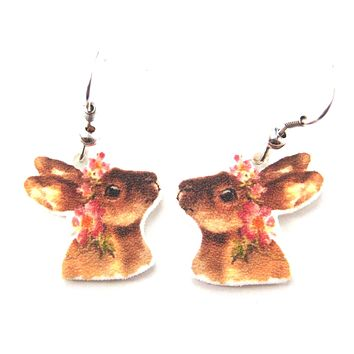Bunny Rabbit with Flowers Watercolor Animal Dangle Earrings | Handmade Shrink Plastic