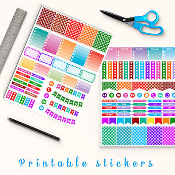 50% OFF Colorful Quaterfoil Stickers Printable Planner Stickers Erin Condren Box Stickers Flags Weekend Banners To Do Stickers Weekly Kit