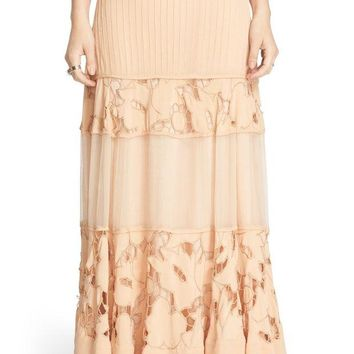 Free People | 'To Put It Wildly' Lace Inset Maxi Skirt