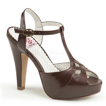 Pin Up Couture Bettie T-strap Dark Brown Heels
