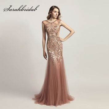 2018 Fashion Long Mermaid Celebrity Dresses with Shining Beading Dusty Rose Tulle Important Party Dress Red Carpet Gowns OL447
