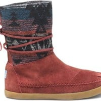TOMS Women's Nepal Boot Burgundy Suede Jacquard Size 7 B(M) US