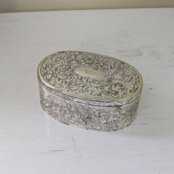 Vintage Silver jewelry box with hinged lid | engagement ring box | jewelry box | wedding ring box | jewelry casket