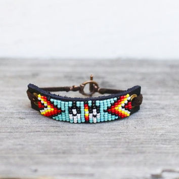 FREE SHIPPING, Native American inspired handmade beaded leather bracelet,tribal,southwestern,boho,hippie style,feather