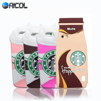 New 3D Ice Cream Starbuck Silicone Case For Apple iphone 5C 5S 5G Mocha Frappuccino Bottle Cup Soft Back Cover