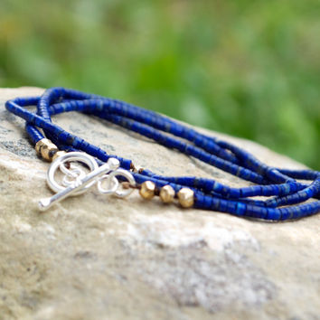 Fine lapis necklace mixed metals Convertible wrap bracelet Thin delicate blue bohemian necklace Tiny lapis lazuli jewellery Minimal layering