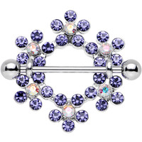 14 Gauge Amethyst Aurora Gem Steel Barbell Snowflake Nipple Shield 1"