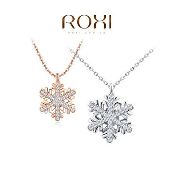 ROXI 2015 New Fashion Jewelry Platinum Plated Statement Elegant Snowflake Necklace For Women Party Wedding = 1958393156