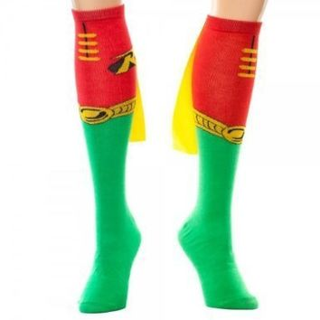 DC Comics Robin Juniors Knee High Cape Sock, Red, One Size