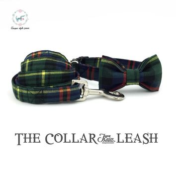 the green gentleman   dog or cat collar with bowtie set and pet leash personal custom pet  designer product dog &cat collar