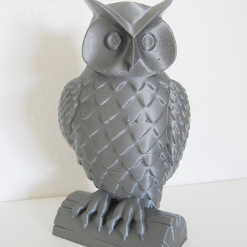 DISCOUNTED Silver 3-D Printed Miniature Owl Statue Sculpture Animal Bird Home Decor 3d Print Geek