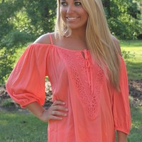 Bangles Boutique — CORAL BOHO OFF SHOULDER TOP