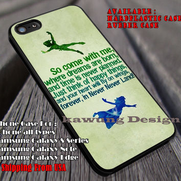 Quotes Neverland, Peterpan, Wendy, Quotes, Neverland, Disney, case/cover for iPhone 4/4s/5/5c/6/6+/6s/6s+ Samsung Galaxy S4/S5/S6/Edge/Edge+ NOTE 3/4/5 #cartoon #animated #disney #peterpan ii