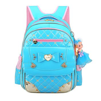 Cute Bow Princess Girl Children School Bags with Doll Sweet Primary School Students Bags PU Leather Backpack Satchels 2 Sizes