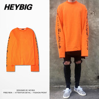 2016 new hot Extra Long Sleeved T-shirt Heybig Swag Street Fashion Tops Vetements Oversized Loose Tee Casual Brief Clothing