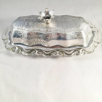 Vintage Butter Dish, Aluminum And Glass Butter Dish, Floral Etching, Vintage Kitchen, Vintage Home Decor, Mid-Century, 1950's, Thanksgiving
