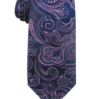 Susan G. Komen Knots For Hope Ribbon Embroidered Paisley Microfiber Tie