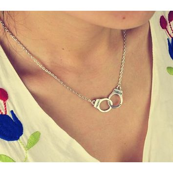 Handcuffs choker pendant necklace lover