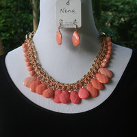 Peach Faded & Braided Necklace & Earrings