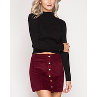corduroy button down mini skirt with pockets - burgundy