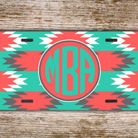 Navajo car tag Monogram license plate - Turquoise and coral Aztec pattern - front monogrammed license plate your initials car tag (1259)