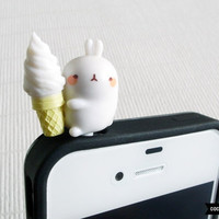 SALE30OFF Cute Bunny Munching Ice Cream iPhone Plug  by CocoonByWL