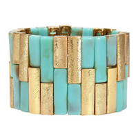 Blue Stone Stretch Cuff Bracelet