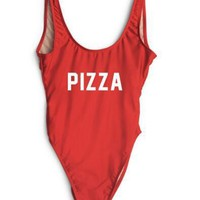 PIZZA One Pieces Swimsuit 2018 Sexy High Cut Backless Bodysuits Red Bathing Suits for Women Swimwear Solid Monokinis Swim Suit