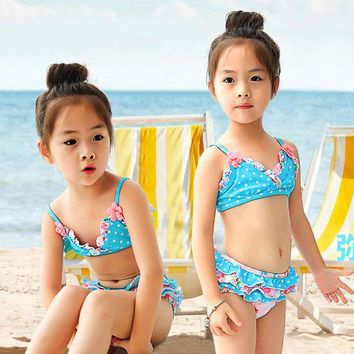 Summer New Flowers Printed Baby Kids Swimsuit Quality Girls Swimwear Two-pieces Lovely Infant Bathing Suit Children Beachwear