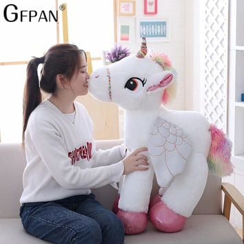 90cm Kawaii Huge Unicorn Soft Plush Toys Giant Stuffed Animal Horse Toys Soft Doll Home Decor Lover Birthday Gift for Children