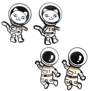 Astronaut Cat in a Space Suit Catstronaut Space Themed Two Part Dangle Earrings