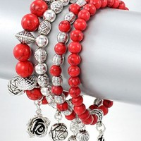 Red Coral And Silver Bangle Bracelets with Silver Rose Charms