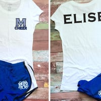 Great idea for cheer camp! Custom Cheer Camp Shirt, Monogram Shorts, Custom Cheer Outfit, Team Orders Welcome, Monogram Cheer Shorts