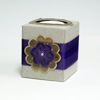 Refillable tissue box in purple and soft gold by SuziesImaginarium