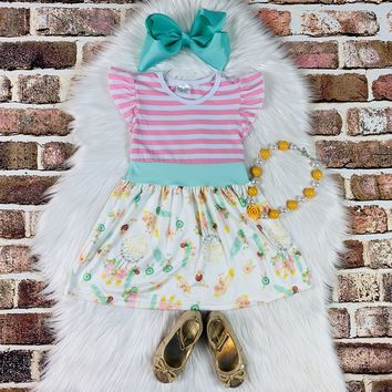RTS Pink and Teal Stripe Dreamcatcher Dress D76
