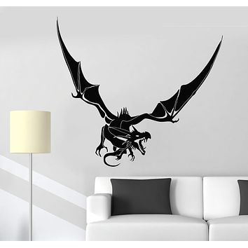 Vinyl Wall Decal Scary Dragon Fantasy Fairy Tale Fantastic Beast Stickers (2618ig)
