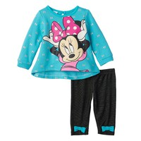 Disney's Minnie Mouse Glitter Bow Knit Top & Leggings Set - Baby Girl, Size: