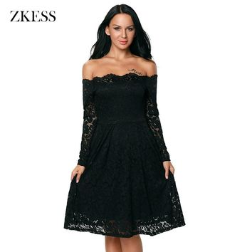 Zless Womens Lace Dress Elegant Sexy See Through Tunic Casual Club Bridesmaid Mother of Bride Skater A-Line Party Dress LC61427