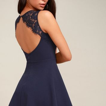 Need You Close Navy Blue Lace Backless Skater Dress