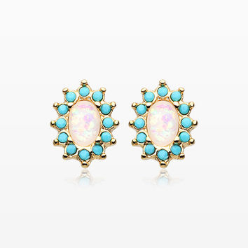 A Pair of Golden Elegant Opal Turquoise Ear Stud Earrings