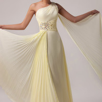 Light Yellow One Shoulder Beads Bow Knot  Flounce Maxi Dress