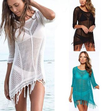 Sexy Bathing Suit Cover Ups Women Swimwear New Beach Lace Cover Ups Swimsuit Summer Cotton V-Neck Women Beachwear