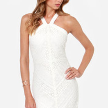 Code of Aesthetics Ivory Lace Halter Dress