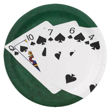 Poker Hands - Flush - Spades Suit Paper Plate