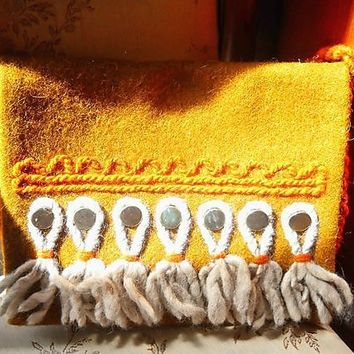 Pouch Bag Wool, Polish Gold Orange Handcrafted Vintage,