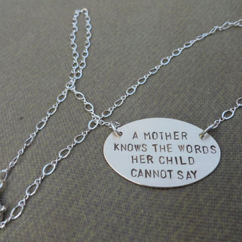 Brass and Sterling Silver Necklace - A Mother Knows the Words her Child Cannot Say